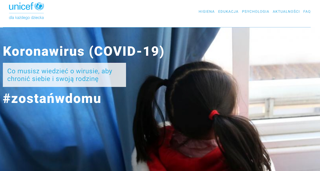 UNICEF uruchamia portal internetowy o koronawirusie