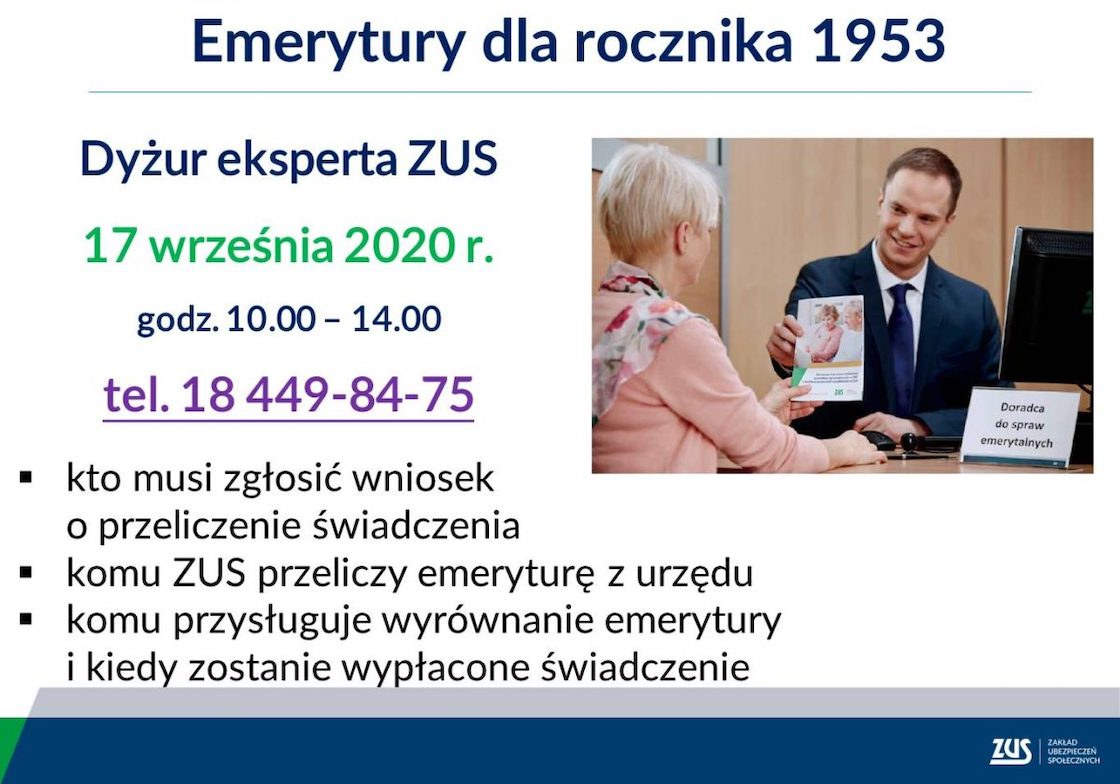 Dyżur ZUS Nowy Sącz, emerytury
