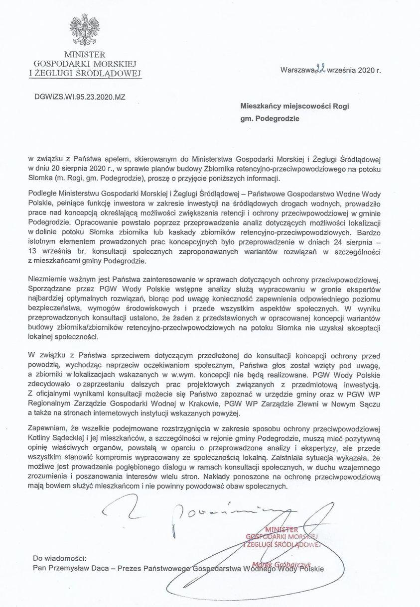 List ministra Gróbarczyka do mieszkańców Rogów