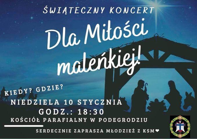 """Świąteczny koncert """"Dla Miłoście maleńkiej"""" w Podegrodziu"""