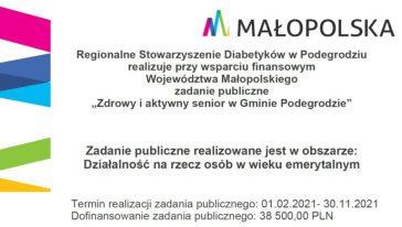 """Regionalne Stowarzyszenie Diabetyków w Podegrodziu zaprasza do udziału w projekcie """"Zdrowy i aktywny senior w Gminie Podegrodzie""""."""